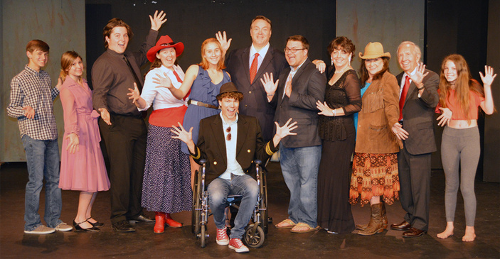 Dirty Rotten Scoundrels cast at Hill Country Community Theatre