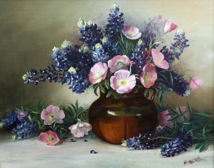 Bluebonnets and Evening Primrose