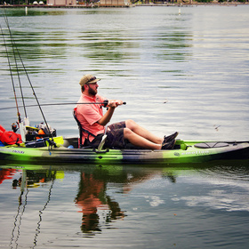Kayak fishing on Lake LBJ