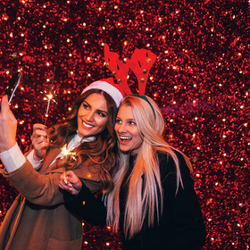 Taking photos at a Christmas lights display