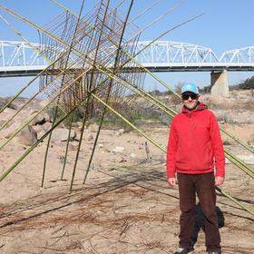 Earth artist Richard Shilling at the Llano Earth Art Fest