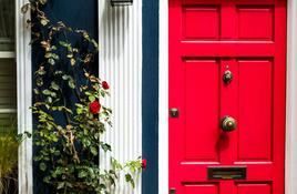 IN THE GARDEN: Red doors and purple posts?