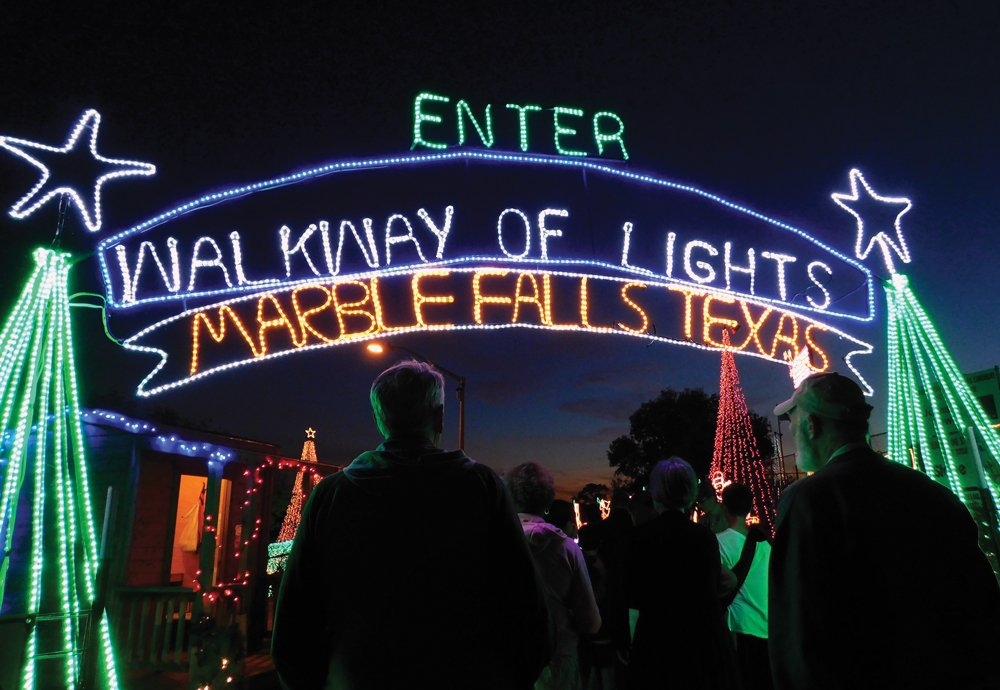 Meander Through Walkway of Lights in Marble Falls