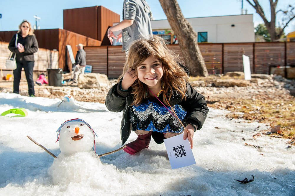 Build a snowman at Science Mill's Snow Day